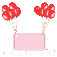 Red flying balloon place for text with confetti wallpaper