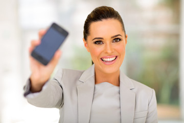 businesswoman holding smart phone