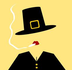 female pilgrim smoking
