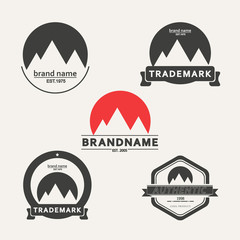 Vector set of emblems associated with mountains