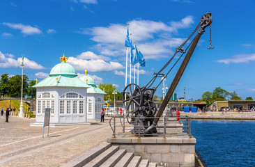 A crane and Royal pavilions on the embankment of Copenhagen