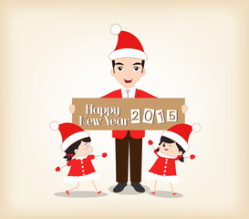 Happy new year father and two baby girls