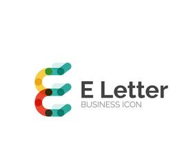 E letter logo, minimal line design