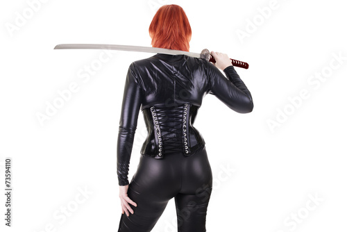 Leinwanddruck Bild Sexy woman with katana