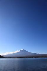 Mt Fuji and Lake Kawaguchi under the blue sky