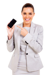 businesswoman pointing mobile phone
