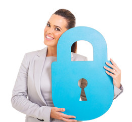 young woman holding blue paper lock