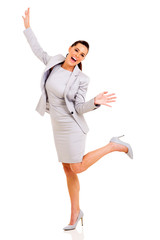 businesswoman arms up