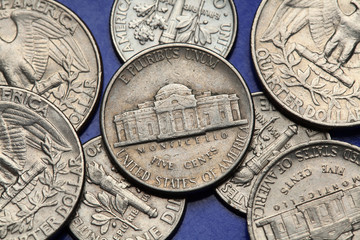 Coins of USA. Monticello US nickel