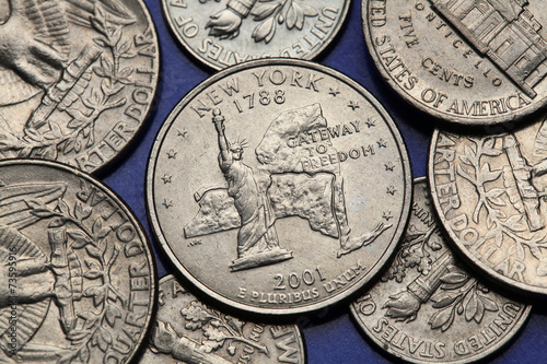 Poster Coins of USA. US 50 state quarter
