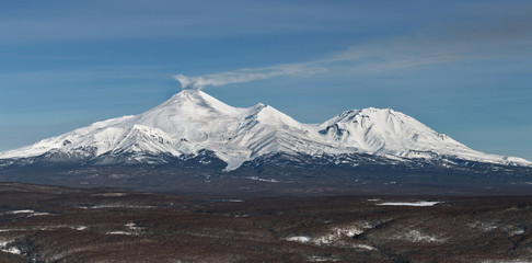 Panorama: Avachinsky Volcano and Kozelsky Volcano. Kamchatka