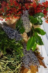 bundles of  blue lavender