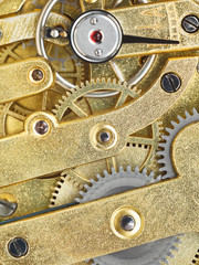 background from brass clockwork of vintage watch