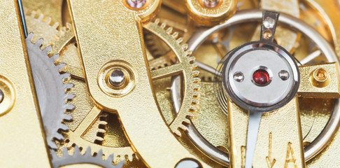 brass mechanical movement of vintage watch