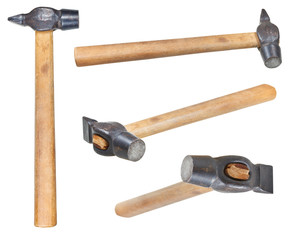set of Cross Peen Hammers with round face isolated