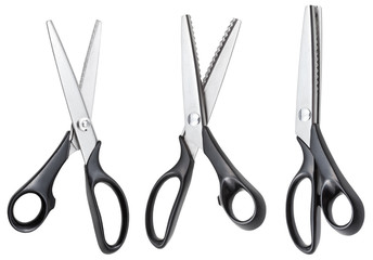 set of open modern pinking scissors isolated