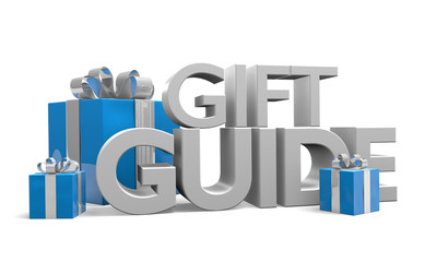 Gift guide text and 3 blue Christmas gifts with silver ribbons