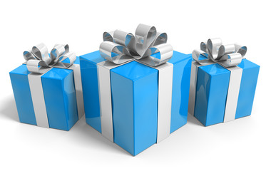 Three gifts wrapped in blue paper and tied with silver ribbons