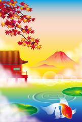 金魚と秋の和の風景