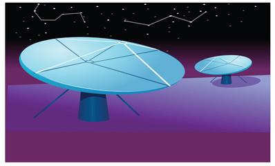 Satellite dish at night