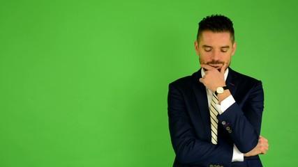 business man thinking - green screen - studio