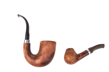 Two tobacco pipes isolated on white background