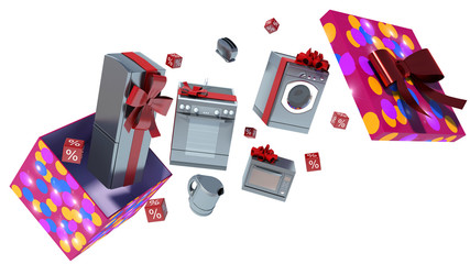 Home appliance in gift box with ribbons and bow