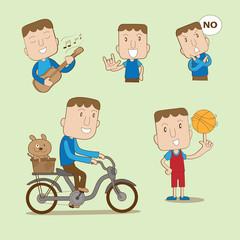 Cartoon man set