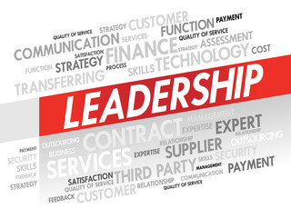 Word cloud of LEADERSHIP related items, presentation background
