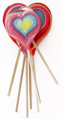Colourful lollipops as hearts