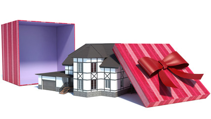 house in gift box with red ribbon. 3D
