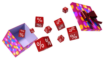 gift and discounts. 3d illustration