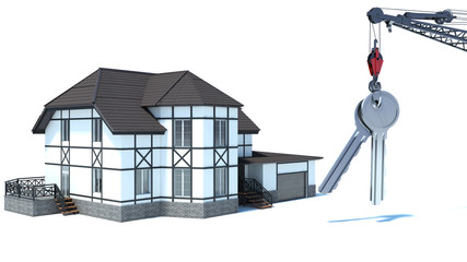 abstract 3d illustration of home key concept