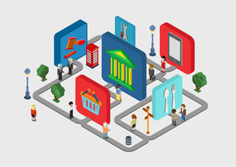 Flat 3d isometric city navigation icons web infographic concept
