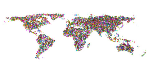 Abstract World Map from 3d people