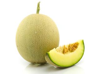 japan melon slice on white background