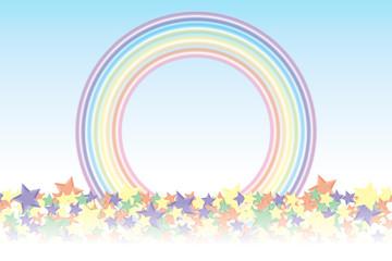 背景素材壁紙(積もった星と虹, 星屑, キラキラ星,キラ星,星の模様,放射状,星,星模様,虹,虹色,レインボー,七色)