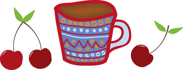 mug and cherries