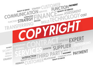 Word cloud of COPYRIGHT related items, presentation background