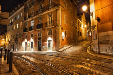 Lisbon Streets at Night in Portugal