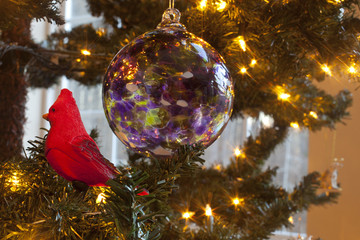 Ornaments hanging on a Christmas tree