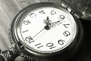 Pocket watch,black and white color filtered.