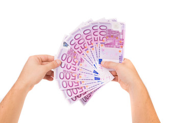 Hand holding euro notes