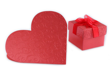 Heart and  Gift Box  red.