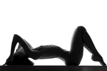 Naked slim brunette