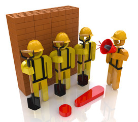 Management team of workers in the construction industry