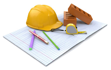 New engineering plan, сonstruction helmet, stationery items and