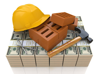 Investments in the construction industry - safety helmet, tools
