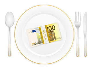 plate cutlery and two hundred euro pack