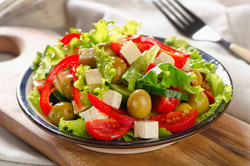 Fresh greek  salad with feta